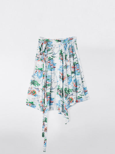 print paper bag wrap skirt