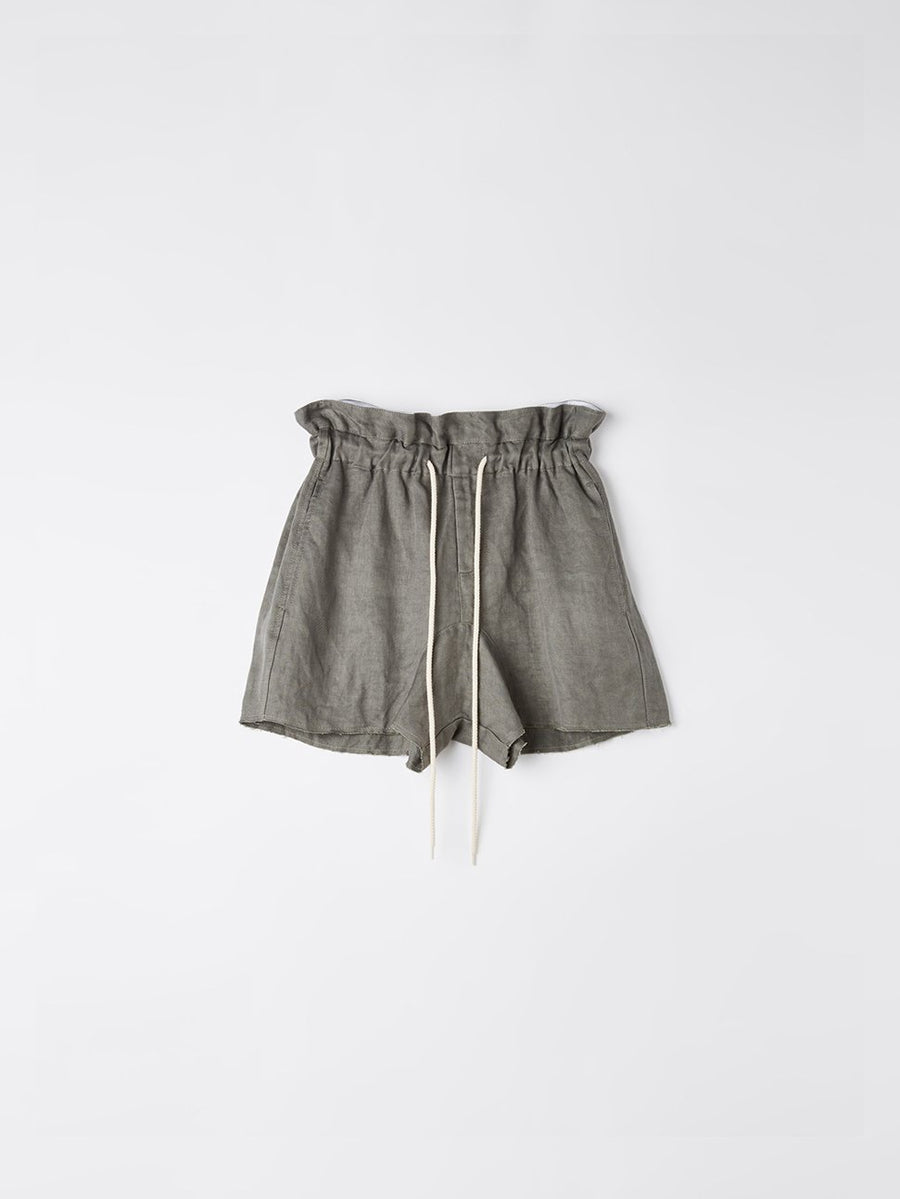 raw linen paper bag short
