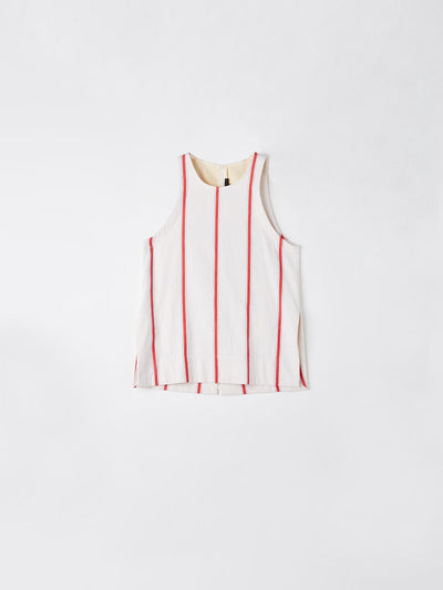 stripe crepe high neck tank