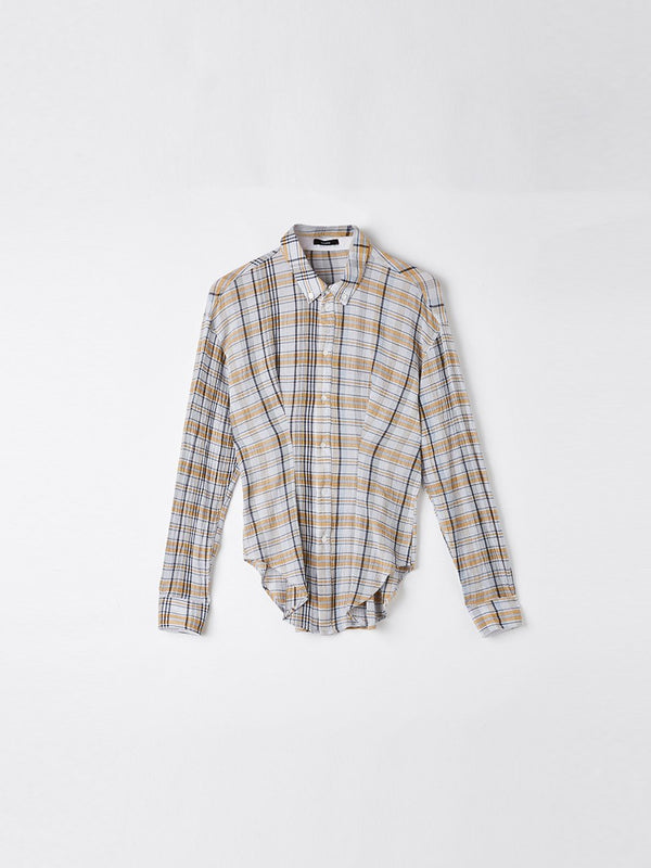 check gauze dart detail shirt