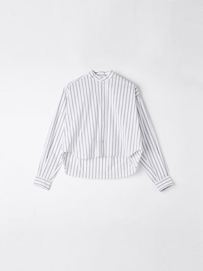 stripe raw cropped shirt