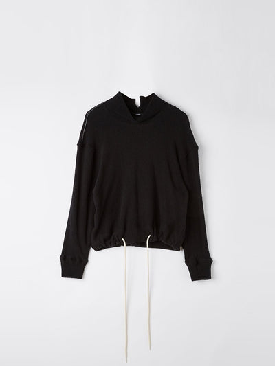 reverse fleece funnel neck top