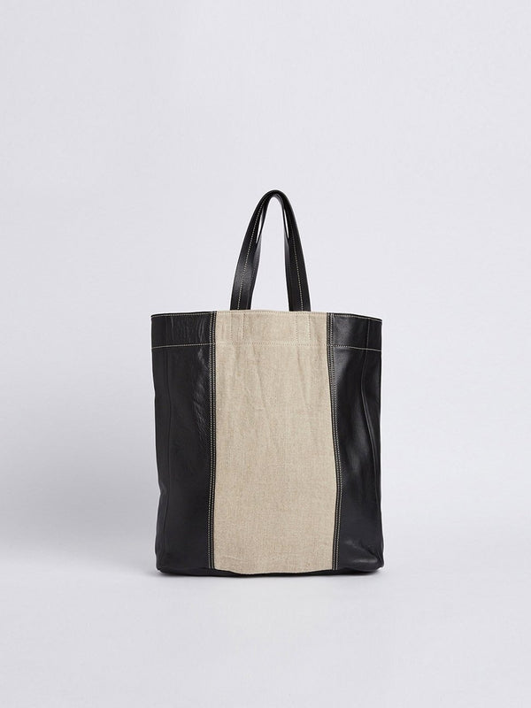 bassike contrast leather tote bag
