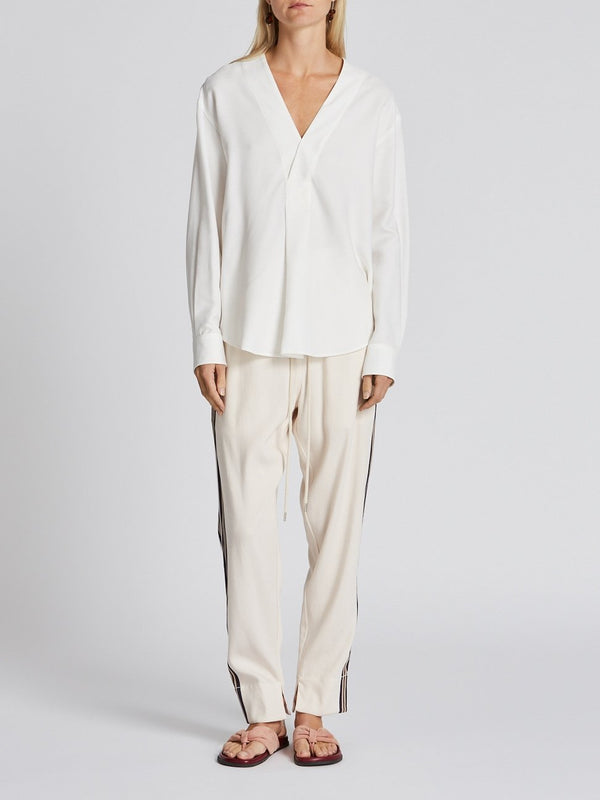 textured crepe relaxed shirt