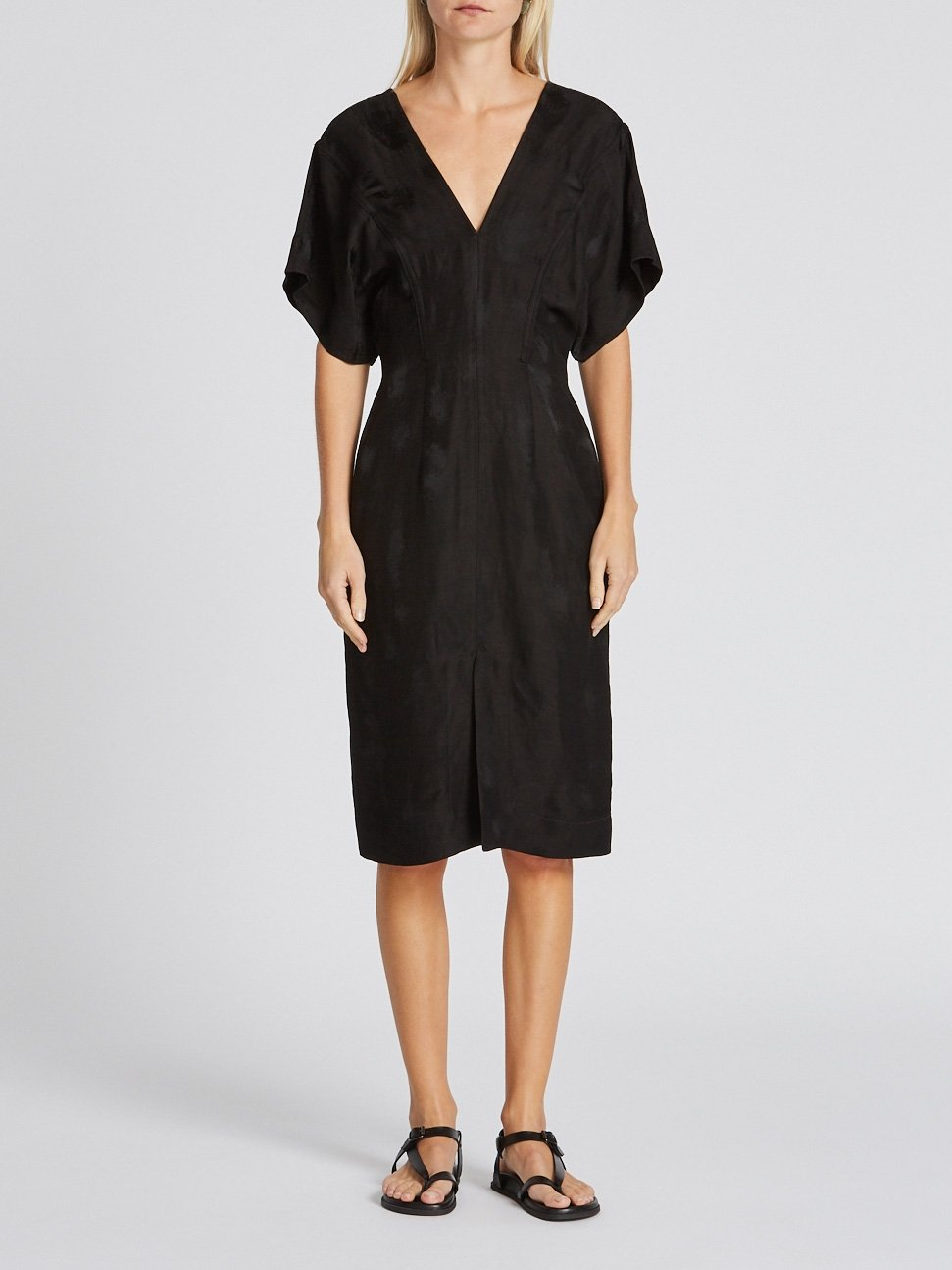 textured viscose v neck dress