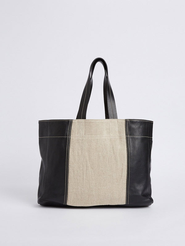 bassike contrast leather carry bag