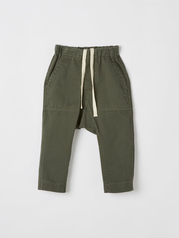 mini washed drill utility pant