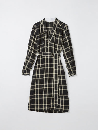 linen check belt detail dress