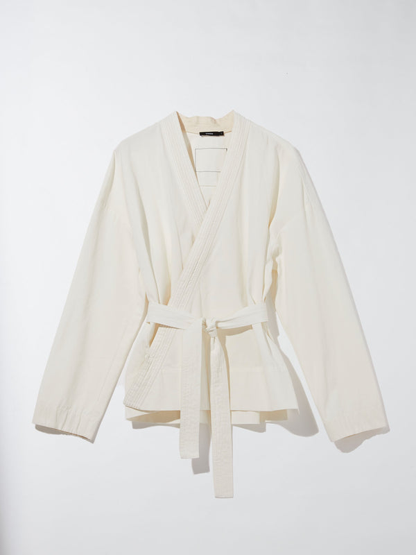 relaxed cotton wrap jacket
