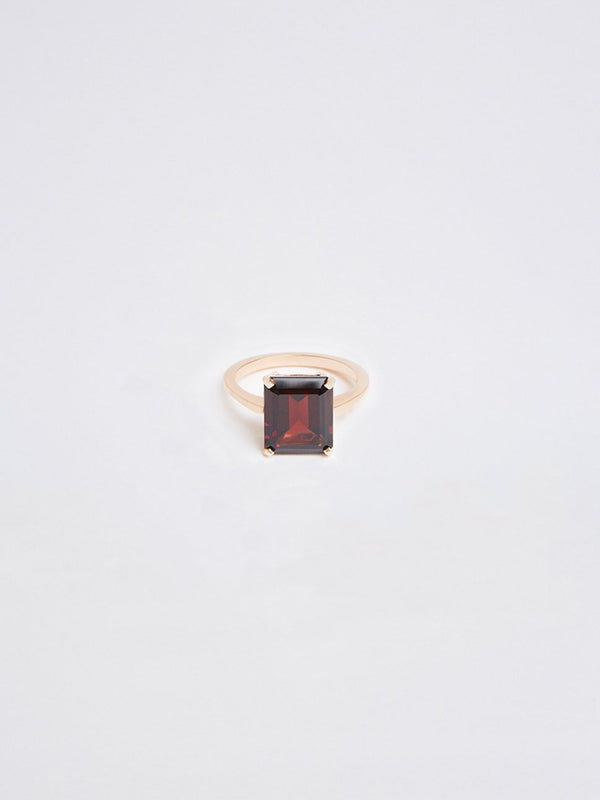 bassike fine jewellery emerald cut garnet ring
