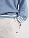 stripe detail denim sweat