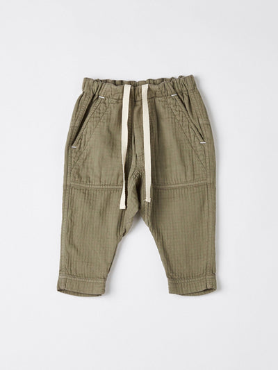 mini washed herringbone pant