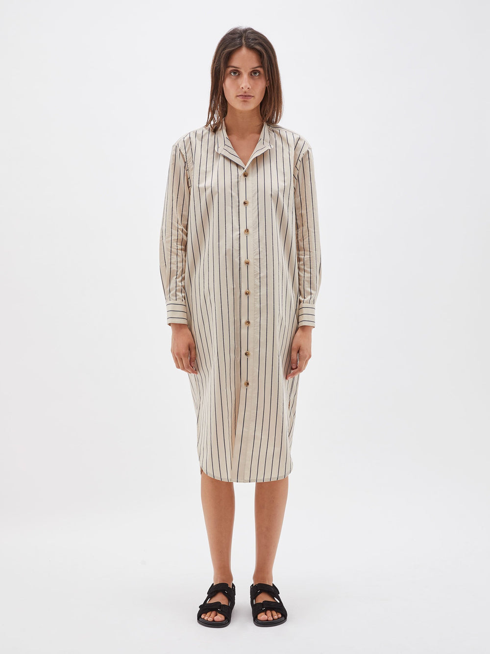 oversized stripe shirt dress