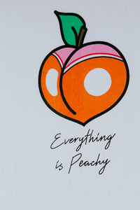 Everything is peachy original design printed on organic cotton Stanley and Stella T-shirts phoned and operated by female in the United Kingdom vegan friendly