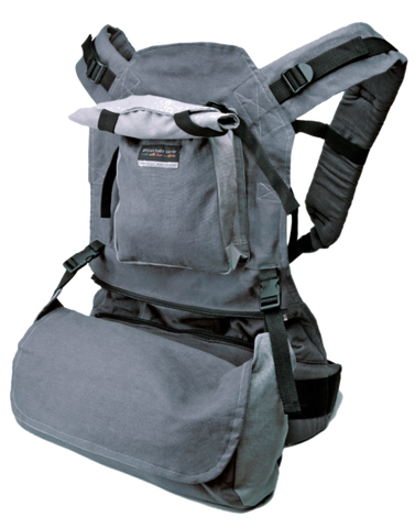 African Baby Carrier Deluxe in Grey Hemp with detachable moon bag