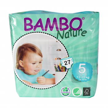 Bamboo Nature Eco Disposable Nappies (5packs)-Nappies-Mother Nature-12-18kg(135 nappies)-www.hellomom.co.za