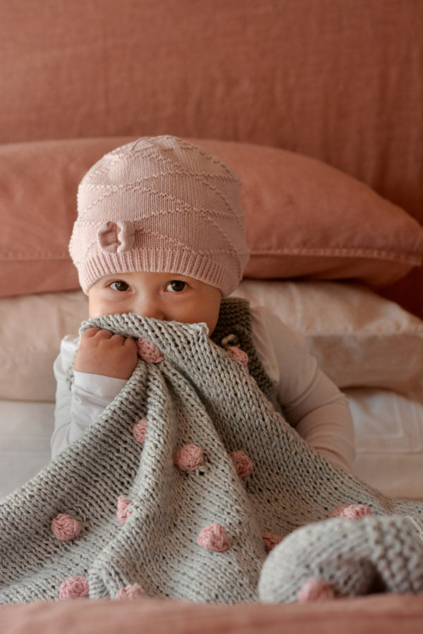 Bobble Cot Blanket In Eco Cotton By Blankets From Africa-Blankets-Blankets From Africa-Cobblestone with Blush Bobbles-www.hellomom.co.za