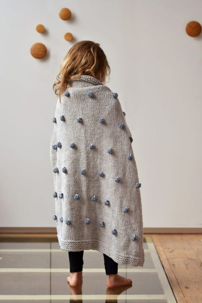 Bobble Cot Blanket In Eco Cotton By Blankets From Africa-Blankets-Blankets From Africa-Mist with Cobblestone Bobbles-www.hellomom.co.za