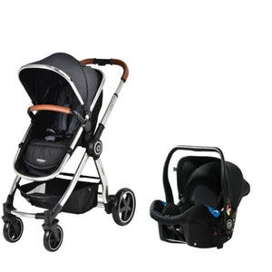 Chelino Platinum City Stroller and car Seat with Chrome Frame and Black Seat Unit
