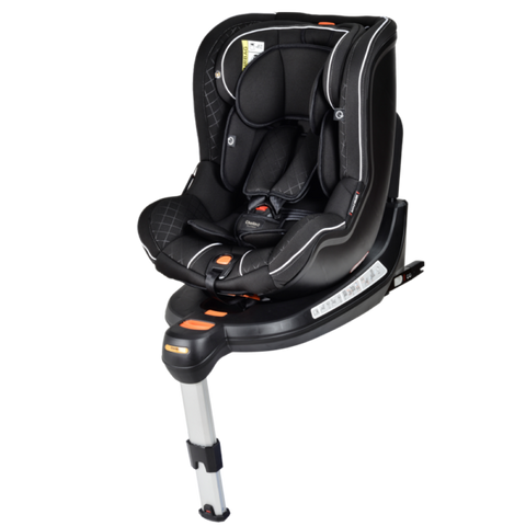 Chelino Spin 360 baby car seat in black with isofix base. Baby car seat facing forwards.