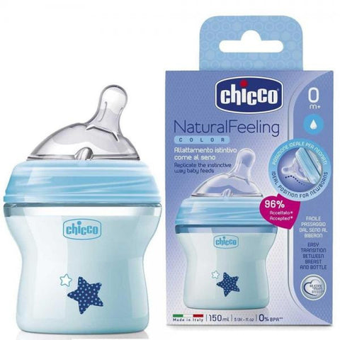 Chicco Natural Feeling Coloured Bottles Trio Pack - 150ml-Bottles-Chicco-Blue-www.hellomom.co.za