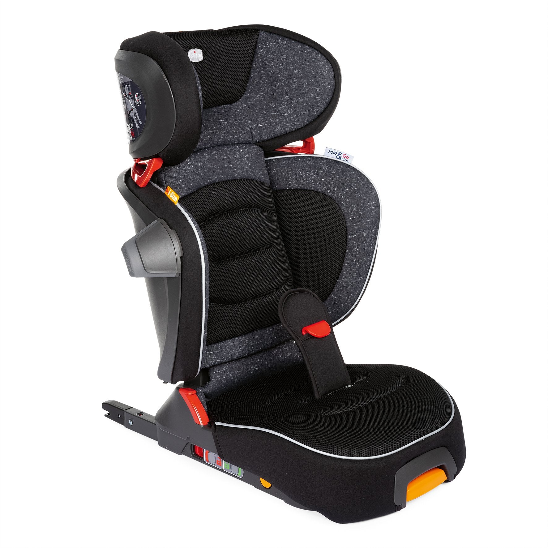 Chicco Fold and Go Booster seat in black in upright position