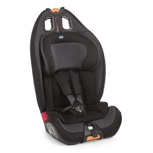 Chicco GroUp 123 car seat in Jet Black in upright position.
