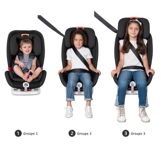 Chicco Youniverse car seat in black showing the different stages from group 1 to group 3