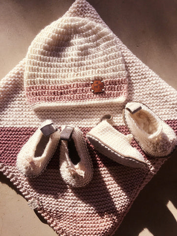 Welcome To This World Gift Set For A Baby Girl-Gift Sets-Karoofelt-Mary-Jane Booties-www.hellomom.co.za
