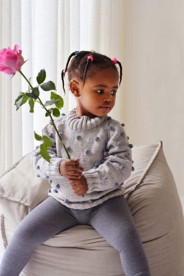 Bobble Jumper for Kids in Eco Cotton by Blankets From Africa-clothing-Blankets From Africa-6 to 12 months-Mist and Cobblestone-www.hellomom.co.za