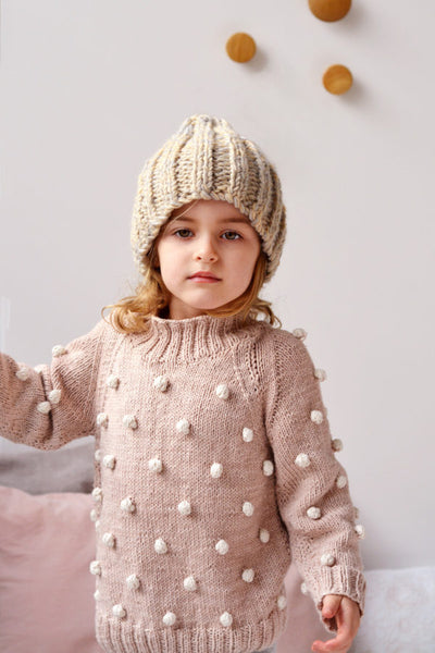 Bobble Jumper for Kids in Eco Cotton by Blankets From Africa-clothing-Blankets From Africa-6 to 12 months-Seashell and Vanilla-www.hellomom.co.za