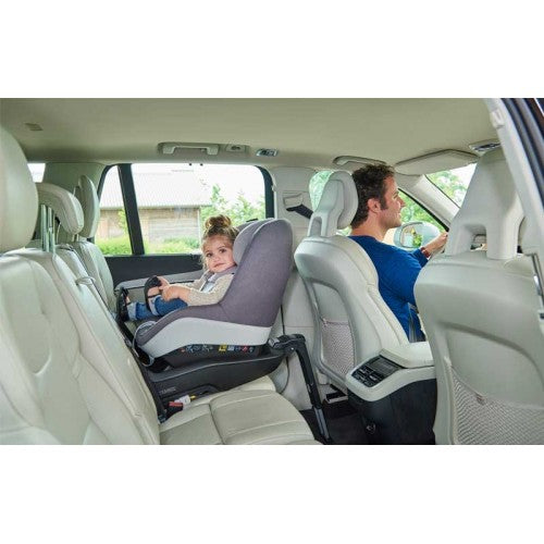 maxi Cosi Pearl Pro baby car seat installed in rearward position on back seat of vehicle