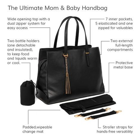 Baby Sense Mom and Baby Handbag-Baby Bag-Baby Sense-Melanie Black-www.hellomom.co.za