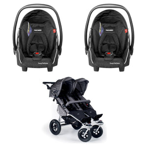 TFK Twinner Twist Stroller with 2 Recaro Young Profi Plus Car Seats-Travel Systems-Trends for Kids-Grey Twinner Twist with Black Recaro Car Seats-www.hellomom.co.za