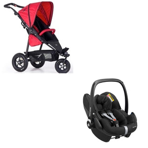 TFK Joggster Twist Lite Stroller with Maxi Cosi Pebble Pro I-Size Car Seat-Travel Systems-Trends for Kids-TFK Stroller in Cranberry and Maxi Cosi Car Seat in Black-www.hellomom.co.za