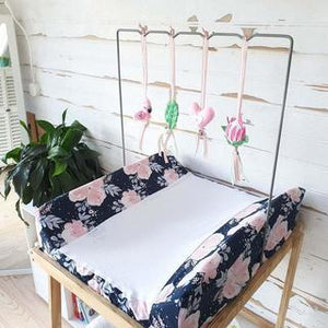 Ruby Melon Change Mat and Mobile Combo-Change Mat-Ruby Melon-Floral Navy with Fanciful Flamingo Dangle Set-www.hellomom.co.za