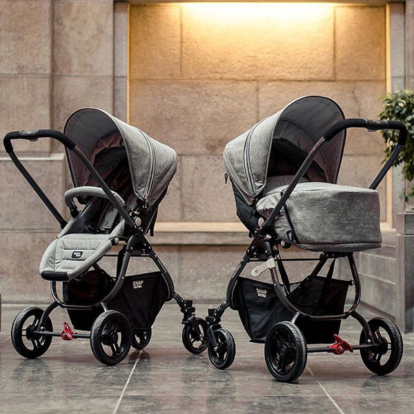 Valco Snap  Ultra Stroller in Grey Merle in stroller seat mode and Bassinet mode