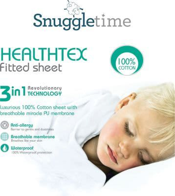 Snuggletime Healthtex fitted Cot Sheet-Bedding-Snuggletime-Standard Cot Size-White-www.hellomom.co.za
