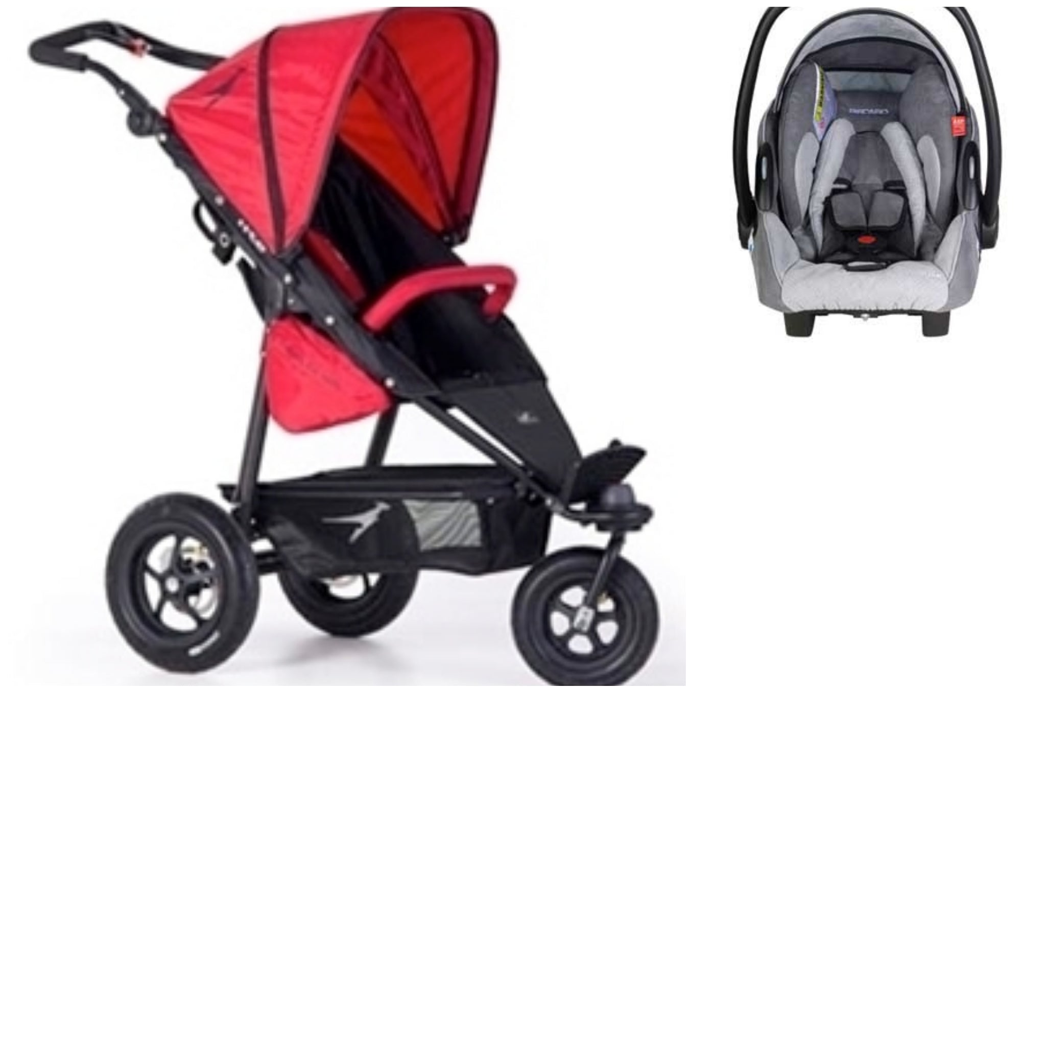 TFK Joggster Twist Lite Stroller in Cranberry with Grey Recaro Young Profi Plus Baby Car Seat