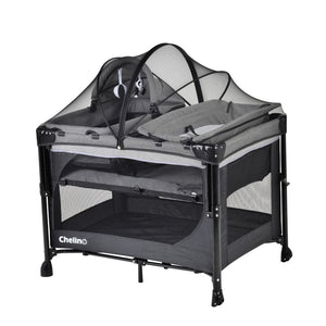 Chelino Tiffany Lux Camp Cot and Co Sleeper-Cots-Chelino-Black and Grey-www.hellomom.co.za