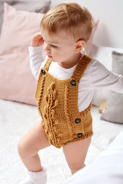 Bobble Baby Romper by Blankets From Africa-Clothing-Blankets From Africa-6 to 12 months-Old Gold-www.hellomom.co.za
