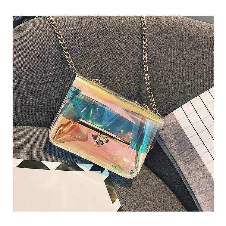 Mini Lock Aurora Laser Gradient Cross-body Bag -  - TomorrowSummer