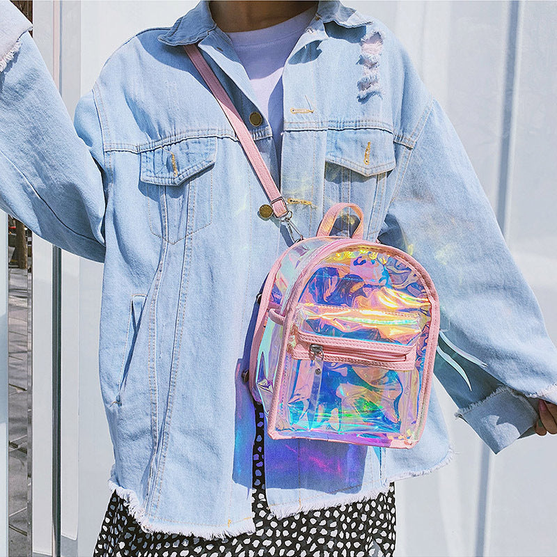 Mini Aurora Laser Gradient Backpack Jelly Bag -  - TomorrowSummer