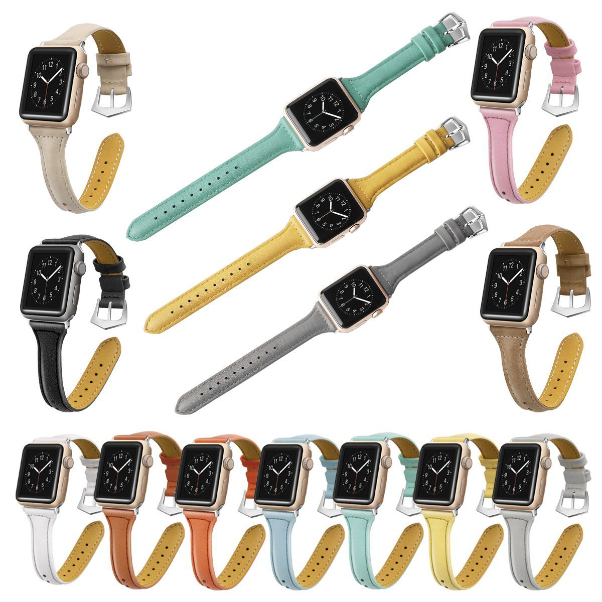'T'-Shape 11 Colors Leather Strap For Apple Watch Series 1,2,3,4 -  - TomorrowSummer
