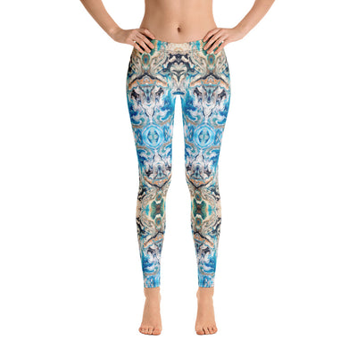 """Blue and Brown Fractal Flow"" Leggings"