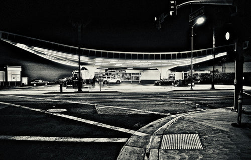BEVERLY HILLS GAS STATION   b&w