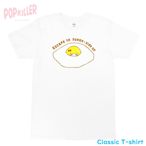 """Escape to sunny side up"" T-shirt made by Popkiller"