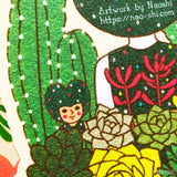 Die-Cut Greeting Card  -Cactus Girl / Thank you-