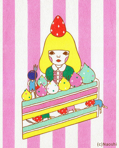 8x10 Art Print -Strawberry Cake-