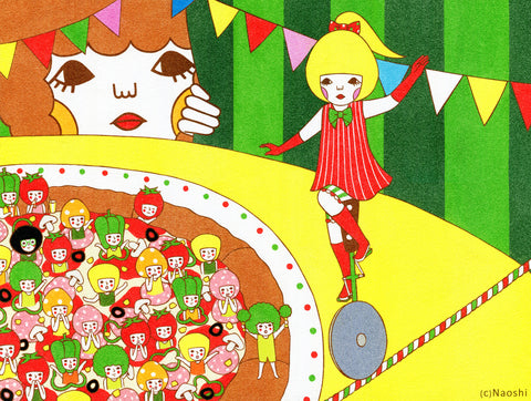13x19 Art Print -Tightrope・Pizza -